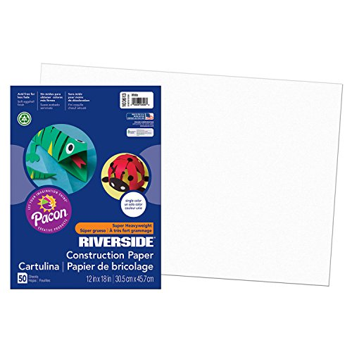 Riverside 3D PAC103613BN Construction Paper, White, 12