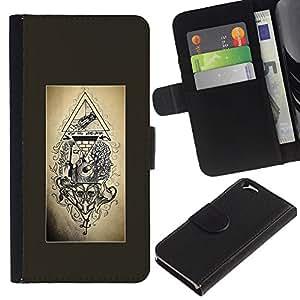 A-type (Free Mason Pyramid Symbolism Engineer) Colorida Impresión Funda Cuero Monedero Caja Bolsa Cubierta Caja Piel Card Slots Para Apple Apple (4.7 inches!!!) iPhone 6 / 6S