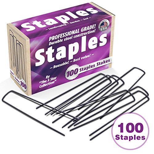 100 Extra Heavy Duty Galvanized Anti-Rust Garden Landscape Staples Stakes Pins - Made in USA - Strong Pro Quality. Best Weed Barrier Fabric, Lawn Drippers, Irrigation Tubing Wireless Dog Fence (Garden Collection Star)