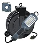 Alert Stamping 5030AHS LED Cord Reel Shop Garage Work Light 1000 Lumens, Gray