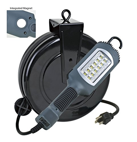 Alert Stamping 5030AHS 12 Watt 1000 Lumen SMD LED Cord Reel Work Light, Gray