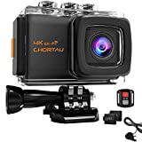 CHORTAU Action Camera 4K 20M WiFi 30M Underwater, 2 Inches LCD Screen 170° Wild Angle Ultra HD Sport Camera, Comes With IP68 Waterproof Case, 2 Rechargeable Batteries, 2.4G Remote Control, 25 Accessories Multiples