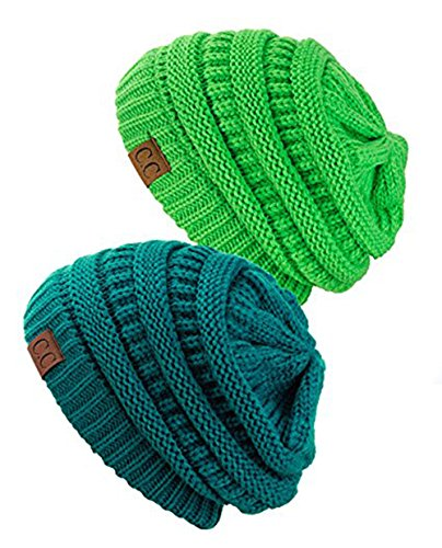 Knitted Collection (Shadana's Collection Trendy Warm Chunky knitted Oversized Soft Cable Knit Slouchy Beanie (Set Teal/Lime))
