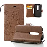 Motorola Moto X PLAY Case, OuDu Embossing Pattern Case Printing Design Cover Stylish Flower&Butterfly Case for Motorola Moto X PLAY PU Leather Case Flip Wallet Shell Stand Function Case with Card Slots - Khaki