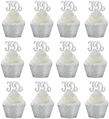 Black Glitter Wrappers 24pk Diamond Ring Wedding  Shower Cupcake Toppers w