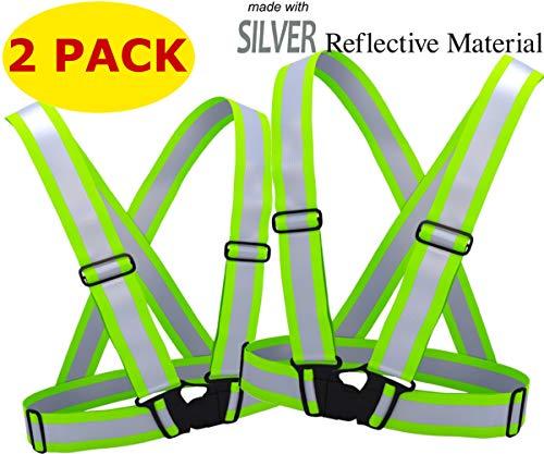 (Reflective Running Vest Gear 2 Pack | Hi Vis Made of Silver Reflector Tape | Adjustable, Lightweight, Elastic Reflective Vest | Safety Vests for Women, Men & Jogging, Cycling, Dog-Walking, Car | XL)
