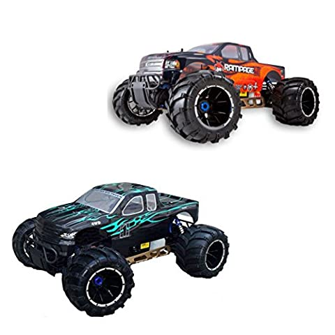 Redcat Rampage MT V3 Gas Truck 2-Pack, Green/Flame and Orange/Flame Bundle, 1/5 Scale - Rampage Air