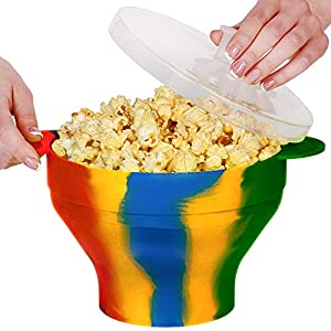 Zatiki Microwave Air Popcorn Popper - Silicone Popcorn Maker, Collapsible Popcorn Bowl With Lid and Handles BPA & PVC Free - Hot Air Maker Corn Kernels