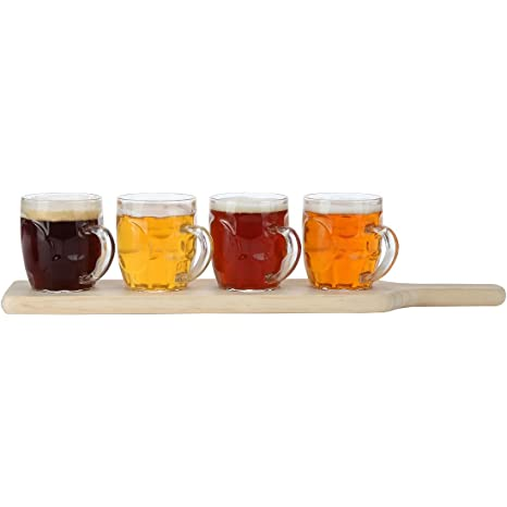 Lilys Home Beer Flight Paddle And Sample Tasting Set Includes 4 Dimple Beer Mugs With 1 Attractive Wooden Tray Best For Beer Lovers Home Brewers