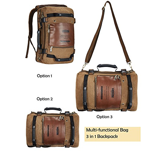 KAUKKO 3 in 1 Outdoor Backpack Large Capacity Men Canvas Messenger Bag Two Colors Selectable Shoulder Bag Computer Laptop Bag (Khaki)