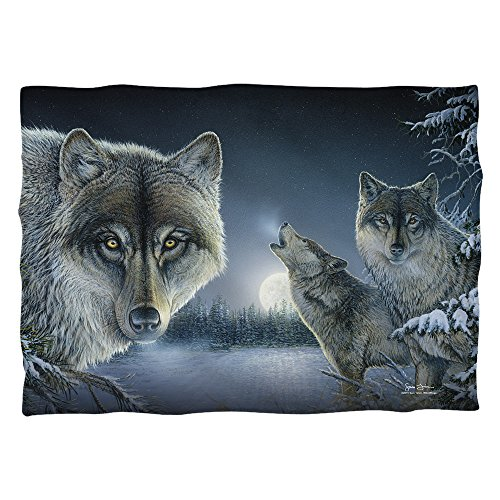 Wild Wings Midnight Wolves 2 poli 20 x 28 Pillow case White One size