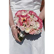 Modern Fuchsia Pink and Cream Gerbera Bridal Wedding Bouquet