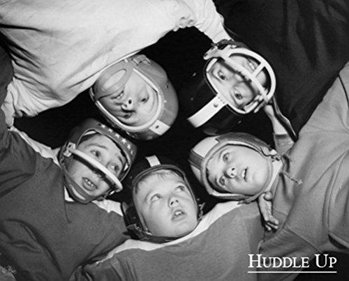 Huddle Up 16x20 Vintage Photograph Art Print Poster Kids Football Black and White Sports (Vintage Football Black And White)