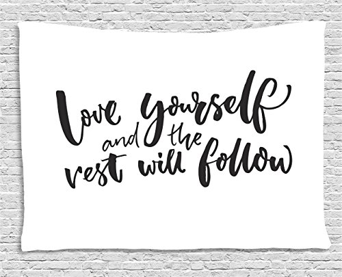 Quote Tapestry by Ambesonne, Love Yourself and the Rest Will Follow Motivational Phrase Wisdom Words Zen, Wall Hanging for Bedroom Living Room Dorm, 80 W X 60 L Inches, Charcoal Grey (Love Hanging)