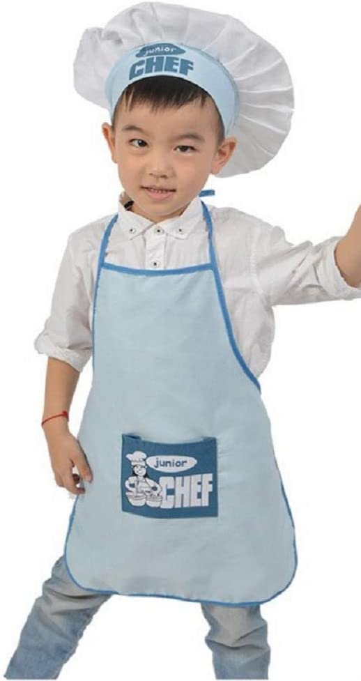 KIRALOVE Disfraz - Uniforme - Cocinero - Junior - Chef - niños - Sombrero - Delantal - Disfraz - Carnaval - Halloween - Cosplay - Accesorios - Unisex - niño - niña - Azul Claro - Talla única