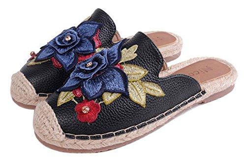 Showhow Womens Floral Cap Toe Tissé Slip Sur Les Appartements Pompes Chaussures Noir