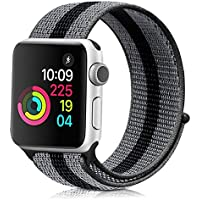 Runostrich For Apple Watch Sport Loop Nylon Band 42mm 38mm Soft Waterproof Strap Woven Classic Stripe Adjustable Apple Watch Series 3 2 1,Edition