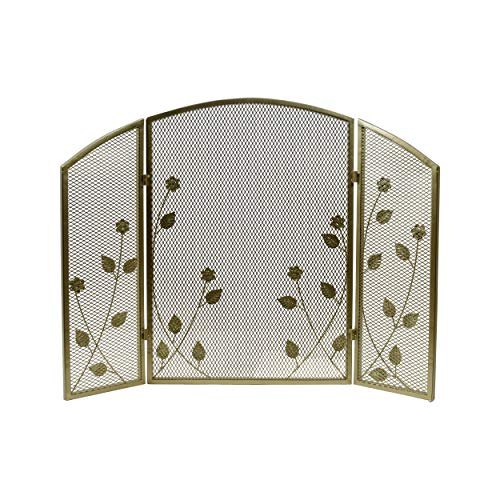 Iron Firescreen - Great Deal Furniture 309129 Jenna Modern Iron Firescreen with Leaf Accents, Gold Finish,