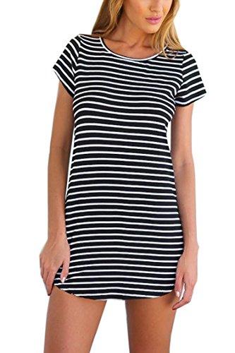 Mitario Femiego Women Casual Outwear Short Sleeve Striped Loose T-Shirt Mini Dress Black XL (Kids Black And White Striped Tights)