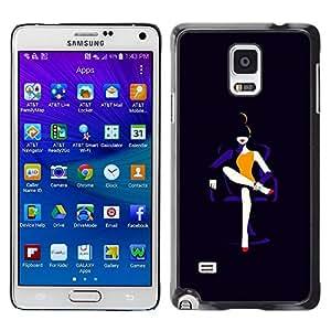 FECELL CITY // Duro Aluminio Pegatina PC Caso decorativo Funda Carcasa de Protección para Samsung Galaxy Note 4 SM-N910 // Lady Black Fashion Minimalist