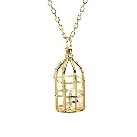 LJSHU Collar de Las Mujeres 10K Oro Personalizado pájaro Jaula ...