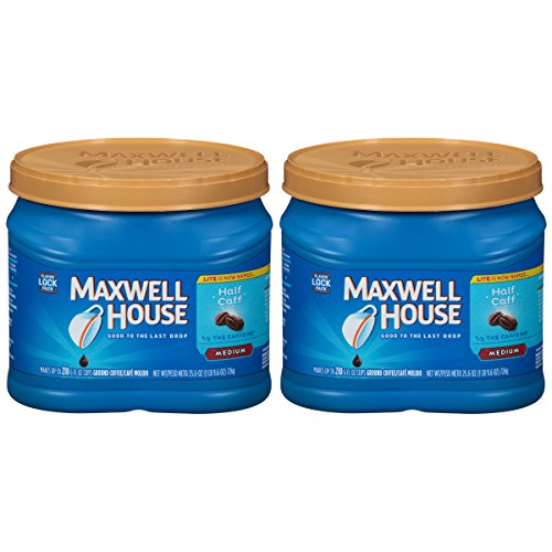 Maxwell House Half Caff Ground Coffee (25.6 oz Canisters, Pack of 2)