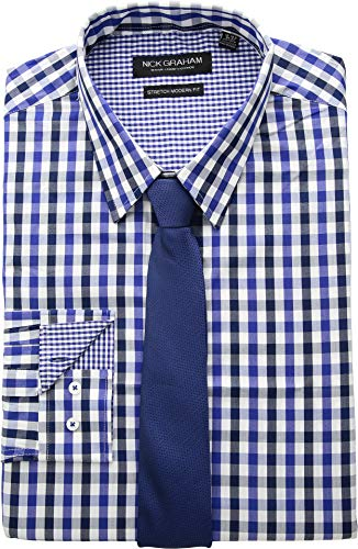 - Nick Graham Men's Modern Fitted Multi Gingham Stretch Shirt with Solid tie, Royal, L-L 34/35