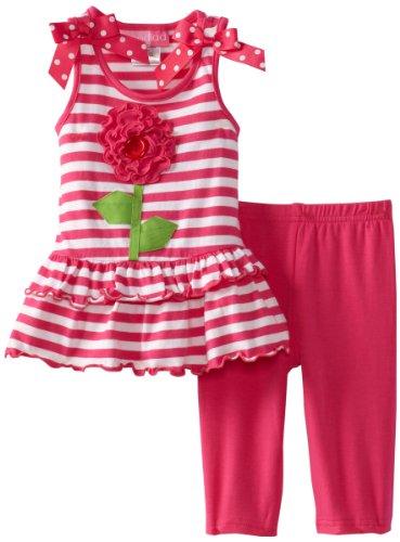 Good Lad Baby Girls' Stripe Tiers Flower Dress With Legging Set, Hot Pink, 12