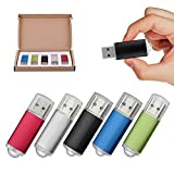 TOPSELL 5 Pack 16GB USB 2.0 Flash Drive Memory Stick Thumb Drives (5 Mixed Colors: Black Blue Green Red Silver)