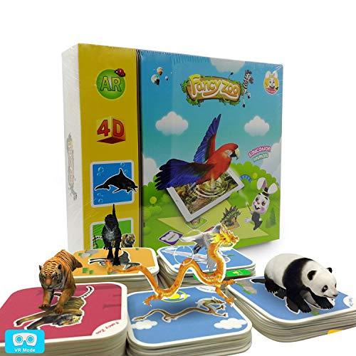 Monopril 68pcs Animals Flash Cards Fancy Zoo Fun Education Animals Augmented Reality 4D AR Learning Cards Magical Animal Interactive Educational Game with 13 Languages for 3 Years and up Kids (Best App To Learn Arabic Iphone)