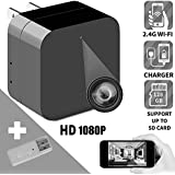 PC-Mart New Hidden Spy Camera Wireless, Mini HD WiFi Spy 1080p IP Cameras USB Wall Charger Camera Motion Detection For Home security Nanny Baby monitor Support Android iPhone Without Memory Card