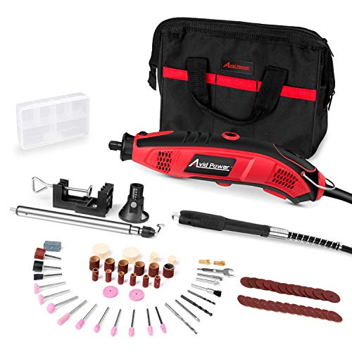Avid Power Rotary Tool Kit 1.5 AMP - 110pcs Accessories, Flex shaft, 3 Attachments, Variable Speed, Holder Hanger and Cutting Guide for Home and Crafting Projects, MW119