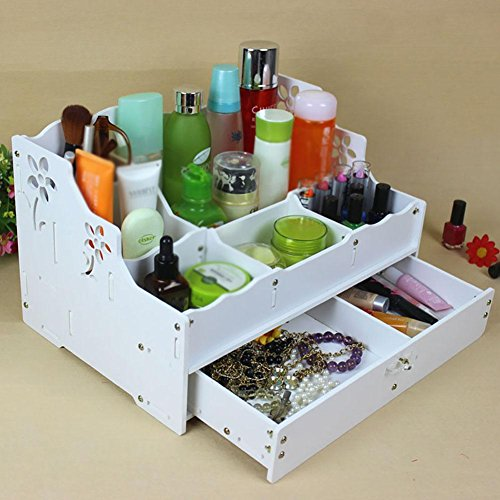 FLHSLY Waterproof Desktop Cosmetic Storage box With drawer Storage case Finishing Shelf Multifunction Cosmetic case storage by FLHSLY