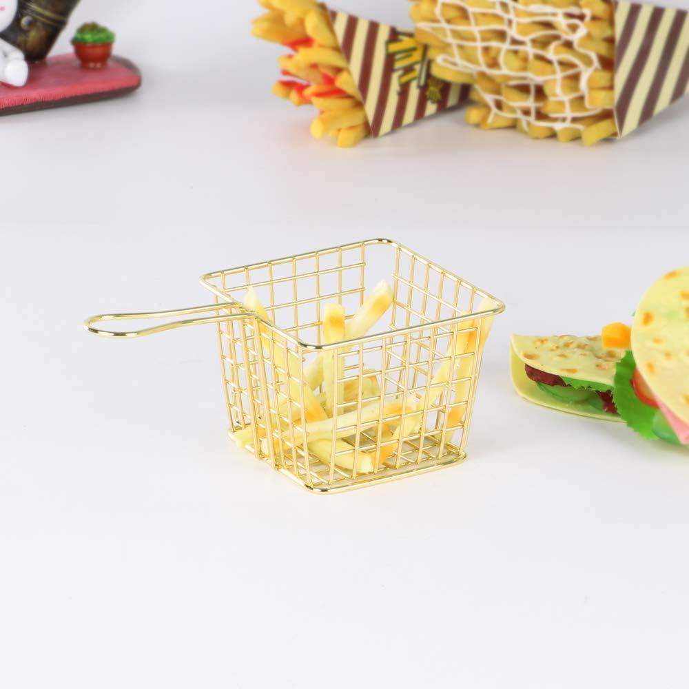 Godyluck Edelstahl Korb Langen Griff Essen Sieb Platz Fritteuse Vorhanden Frittierk/örbchen Servierplatten Frittierk/örben Edelstahl Wedges Halter