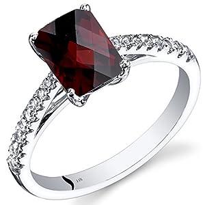 14K White Gold Garnet Ring Radiant Cut 1.75 Carats Sizes 5 to 9