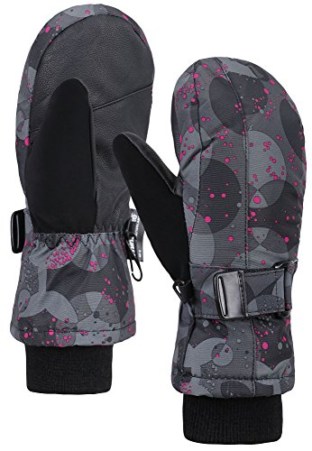 ANDORRA Girl's WeatherProof Thinsulate Lined Snow Mittens,L,Pink Dot