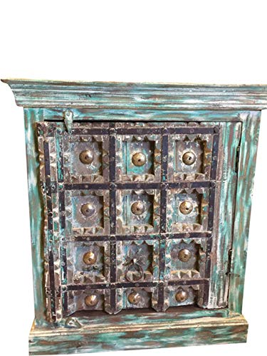 - Antique Distressed Rustic Box Chest Patina Indian Furniture TV Console Cabinets Buffet