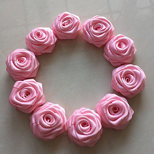 "SAJIKA 10 Pcs Pink Satin Ribbon Rolled Rose Flowers 2.5 "" Satin Rosette, Wholesale Flower, Headband Rose Buds, Floral Embellishment from SAJIKA DIY"