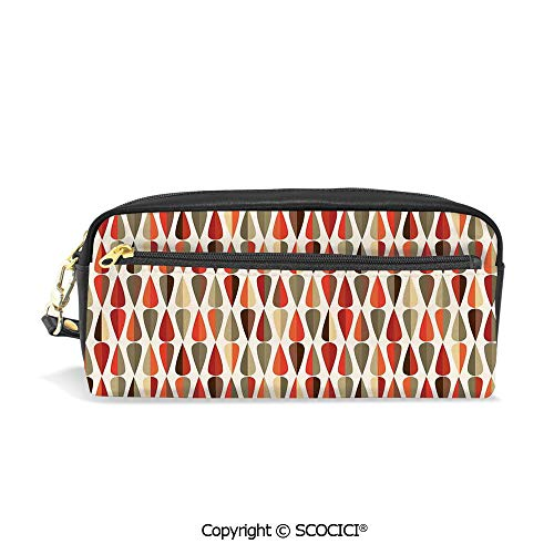 (Printed Pencil Case Large Capacity Pen Bag Makeup Bag Home Decor 60s 70s Style Geometric Round Shaped Design with Warm Colors Print for School Office Work College)