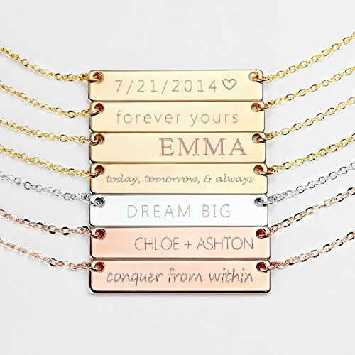Personalized Necklace Name Plate Bar Gold Necklace Custom Silver Necklace Wedding Bridesmaid Gift Mom - 4N from MignonandMignon
