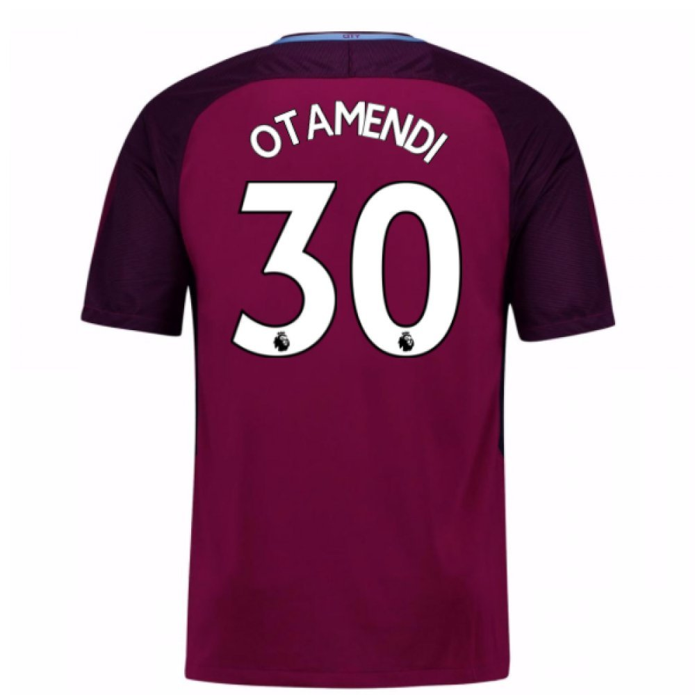 2017-18 Man City Away Football Soccer T-Shirt Trikot (Nicolas Otamendi 30) - Kids