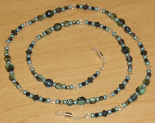Ocean Blue Teal Iris Austrian Crystal Eyeglass Chain Holder
