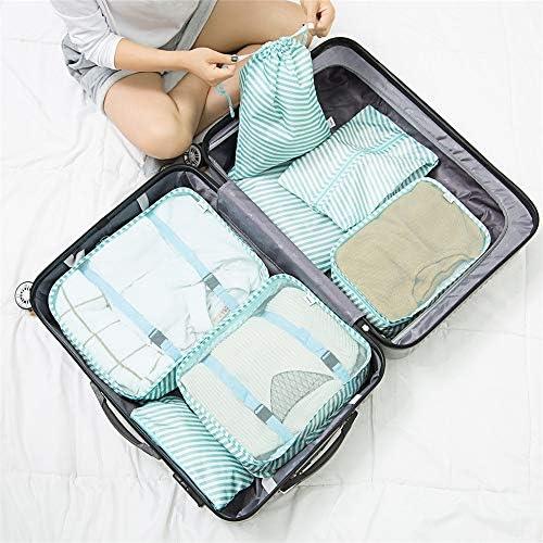 旅行用収納袋 7ピースパッキングキューブ旅行オーガナイザー荷物圧縮ポーチ防水服収納袋旅行アクセサリーのセット ハンドロールアップ再利用可能な服 (色 : Green A, Size : Free size)