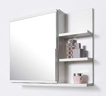 Domtech Armoire De Salle De Bain Avec Miroir Et Etageres Blanc