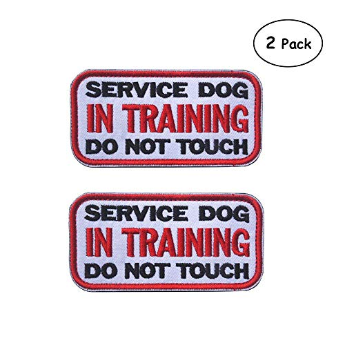 (Ultrafun Service Dog Hook & Loop Fastening Tape Patch Pet Harness Vest - 2 X 3 Inches - Set of 2 (W-in Training))
