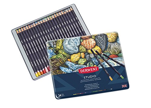 - Derwent Studio Colored Pencils, 3.4mm Core, Metal Tin, 24 Count (32197)