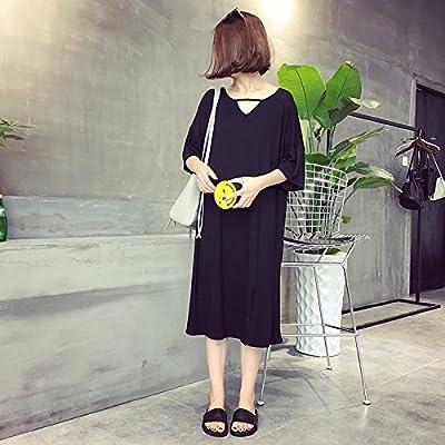 Xmy Lâche, longue, pure color sur fourche robe en maille, manches courtes T-shirt femme gros loisirs code code sont