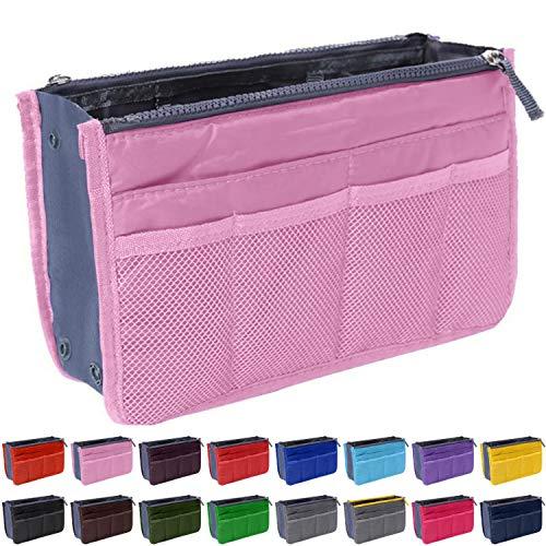 Handbag Organizer by Gaudy Guru - Insert Purse Organizer - Bag in Bag - 13 Pockets - Multiple Colors (Pink)