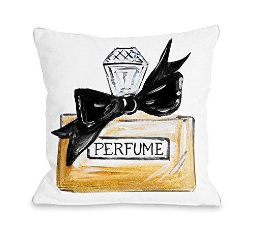 "One Bella Casa Bow Perfume/Black Quilted Throw Pillow Cover by Timree Gold, 18""x 18"", White/Black from One Bella Casa"