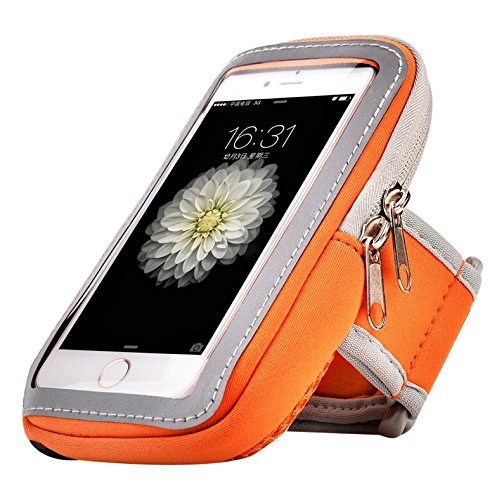 Neoprene and Nylon Sports Armband Sweatproof Workout Running Gym Fitness Cell Phone Case for Samsung Galaxy S10 Plus/S9 Plus/Note 9/Note 8/iPhone Xs Max/8 Plus/7 Plus/Motorola Moto G7/LG G7(Orange)